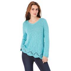 Plus Size Women's Pointelle Slub Boyfriend Pullover by Roaman's in Soft Turquoise (Size 14/16)