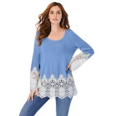 Plus Size Women's Fine Gauge Lace Pullover by Roaman's in French Blue (Size 22/24)