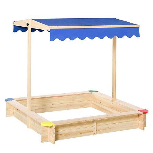 Sandkiste mit verstellbarem Dach natur/blau