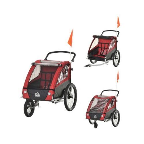 3in1 Kinderwagen auch als Jogger und Fahrradanhänger rot