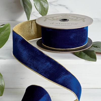 Cobalt Velvet Ribbon with Gold Back - Frontgate