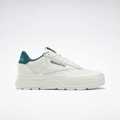 Reebok Women's Club C Double GEO Shoes in Chalk/Midnight Pine/Future Teal Size 11 - Lifestyle Shoes