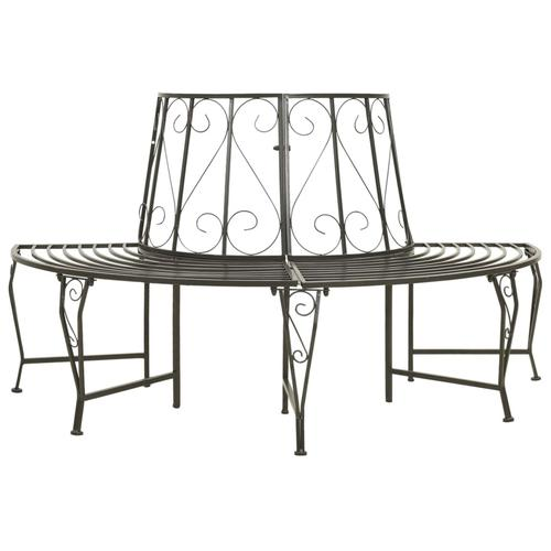 vidaXL Garten-Baumbank Halbrund 160 cm Stahl