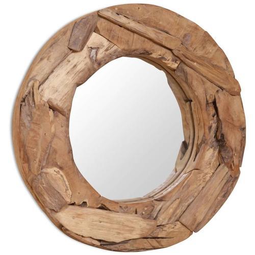 Dekorativer Spiegel Teak 60 cm Rund