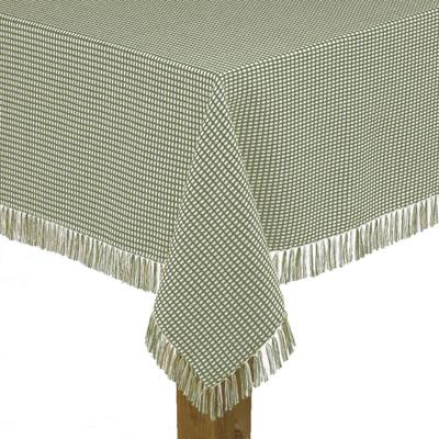 """Wide Width Homespun Check Woven Tablecloth by LINTEX LINENS in Sage (Size 60"""" W 84"""" L)"""