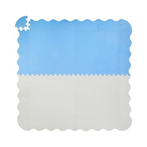 Puzzlematte mit Rand 120 x 120 cm blau