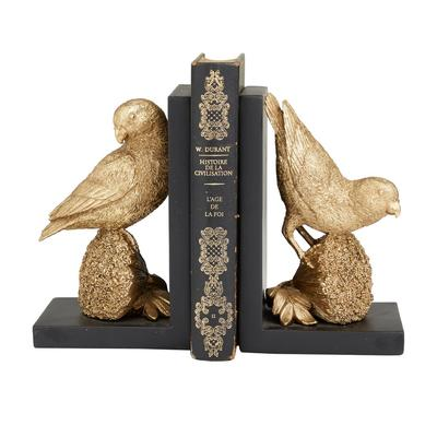 Juniper + Ivory Grayson Lane Set of 2 5 In. x 5 In. Glam Bookends Gold Resin - 82231