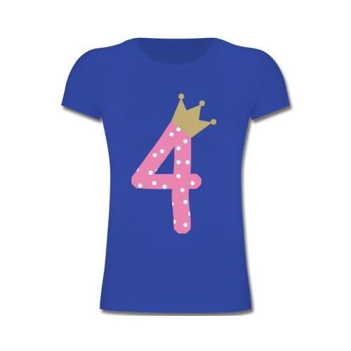 Kindergeburtstag Geburtstag Geschenk 4. Geburtstag Krone Mädchen T-Shirts Kinder blau Kinder