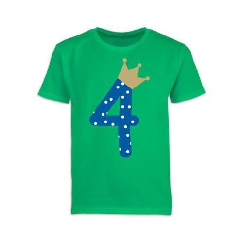 Kindergeburtstag Geburtstag Geschenk 4. Geburtstag Krone Junge T-Shirts Kinder grün Kinder