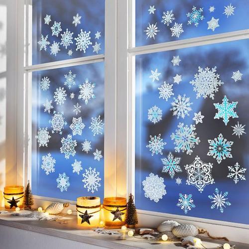 Fenstersticker Eiskristalle blau, 43-teilig