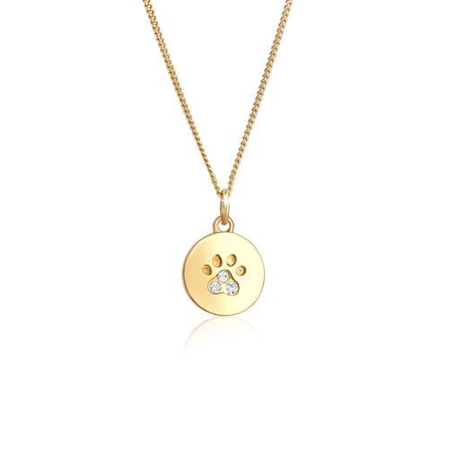 Halskette Pfote Hund Katze Tatze Kristalle 925 Silber Elli Gold