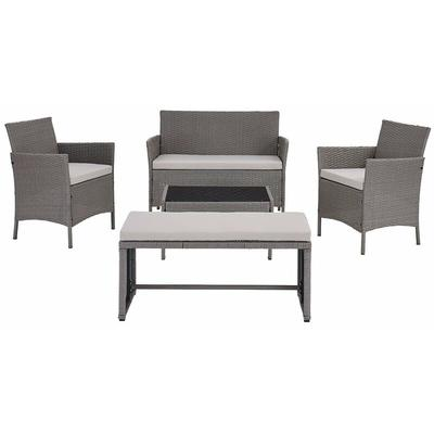 5 Piece Rattan Garden Lounge Set Outdoor Patio with Bench & Table , Grey