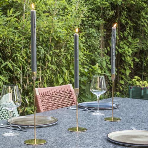 HI 3-tlg. Kerzenständer-Set Golden 10 cm Durchmesser