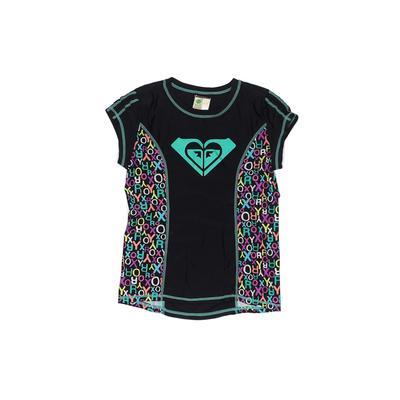 Roxy Girl Rash Guard: Black Animal Print Sporting & Activewear - Size 14