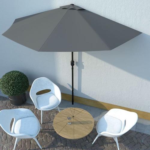 Balkon-Sonnenschirm mit Alu-Mast Anthrazit 300×150 cm Halbrund