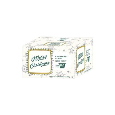 White Coffee Merry Christmas Breakfast Blend Medium Roasted Ground Coffee - 80 Count Cups