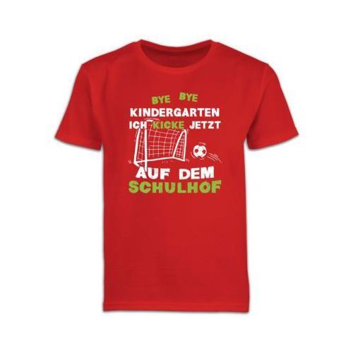 Schulkind Einschulung und Schulanfang Geschenke Bye Bye Kindergarten Einschulung Fußball T-Shirts Kinder rot Kinder