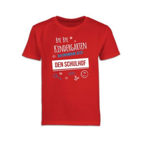 Schulkind Einschulung und Schulanfang Geschenke Bye Bye Kindergarten Einschulung Schulhof T-Shirts Kinder rot Kinder