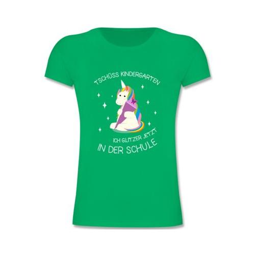 Schulkind Einschulung und Schulanfang Geschenke Einschulung Einhorn Tschüss Kindergarten Schultüte T-Shirts Kinder grün Kinder