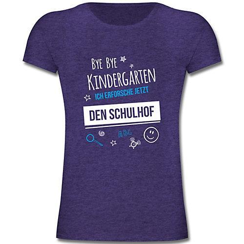 Schulkind Einschulung und Schulanfang Geschenke Bye Bye Kindergarten Einschulung Schulhof T-Shirts Kinder lila Kinder
