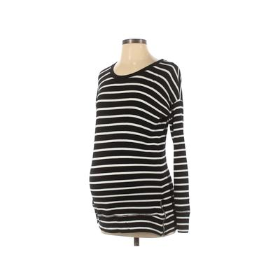 A Pea in the Pod Sweatshirt: Black Stripes Clothing - Size X-Small Maternity