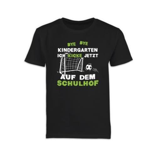 Schulkind Einschulung und Schulanfang Geschenke Bye Bye Kindergarten Einschulung Fußball T-Shirts Kinder schwarz Kinder