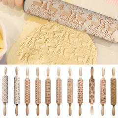 Rouleau à pâtisserie en bois pour noël, bâton de pâte, outil de pâtisserie, décoration du nouvel an