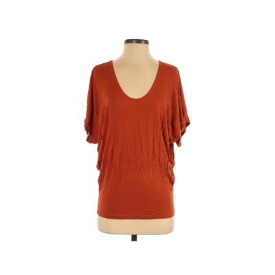 Love Culture Short Sleeve T-Shirt: Orange Solid Tops - Size Small