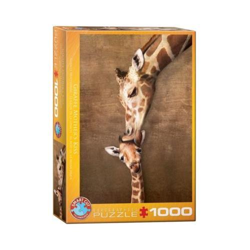 Puzzle 1000 Teile-Giraffenmutterkuss