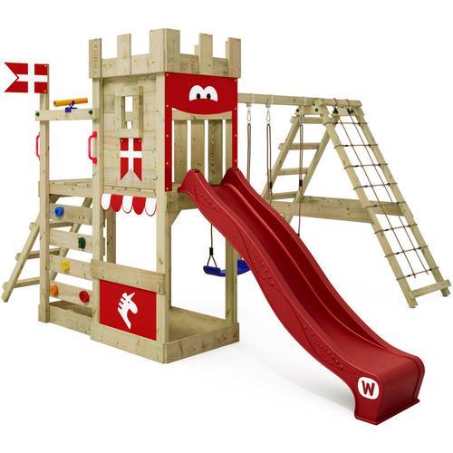 WICKEY Spielturm Ritterburg DragonFlyer mit Schaukel & roter Rutsche, Spielhaus mit Sandkasten,
