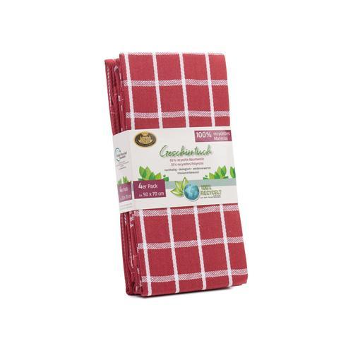 Gözze Geschirrtücher 4er Pack recycelt, 50 x 70 cm (rot)
