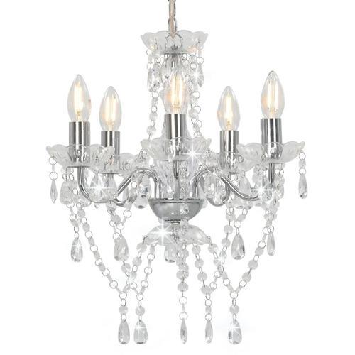 Kronleuchter mit Kristallperlen Silbern Rund 5 x E14