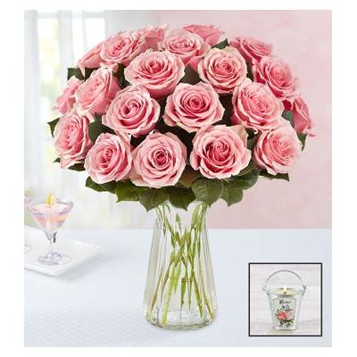 Pink Petal Roses + Free Candle 24 Stems with Clear Vase & Free Candle by 1-800 Flowers