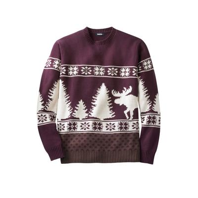 Men's Big & Tall Holiday Crewneck Sweater by KingSize in Deep Burgundy Moose (Size 8XL)