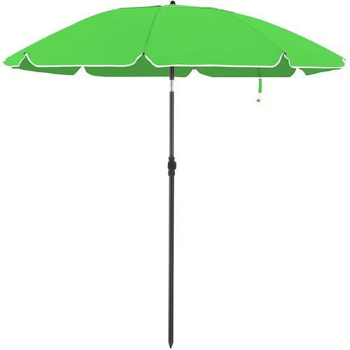 UAC Sonnenschirm, Ø 200 cm, Gartenschirm, UV-Schutz bis UPF 50+, knickbar, tragbar, Schirmrippen aus Glasfaser, mit Transporttasche grün
