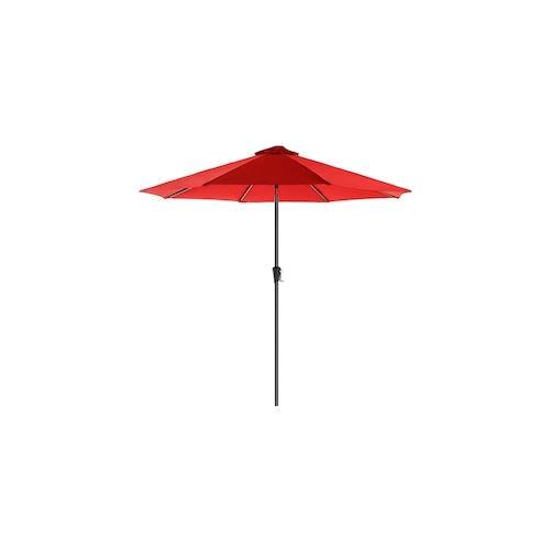 UAC Sonnenschirm, Ø 2.7 m, Gartenschirm, Marktschirm, UV-Schutz bis UPF 50+, Terrassenschirm, Sonnenschutz, knickbar, mit Kurbel, ohne Ständer, rot