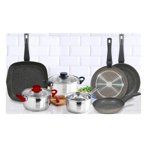 Set: 5er-Kochgeschirr-Set Eclat und 3er-Pfannen-Set und Grillpfanne
