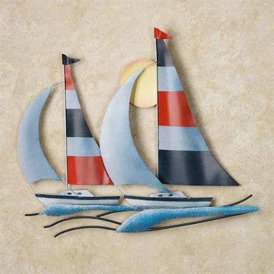 In Full Sail Metal Wall Sculpture Blue , Blue