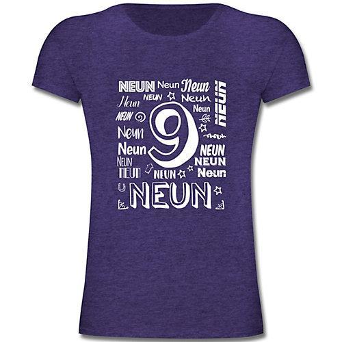 Kindergeburtstag Geburtstag Geschenk 9. Geburtstag Zahlen T-Shirts Kinder lila Kinder
