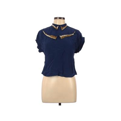 Toujours Toi Family Affairs Short Sleeve Silk Top Blue Solid Mock Tops - Used - Size Large