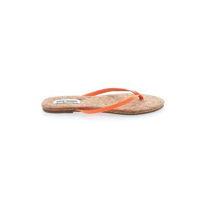 Steve Madden Flip Flops: Orange Solid Shoes - Size 8