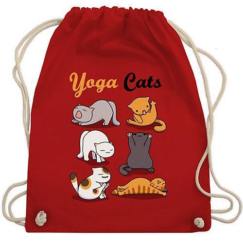 Sprüche Statement mit Spruch Yoga Cats Turnbeutel Jungen rot Kinder