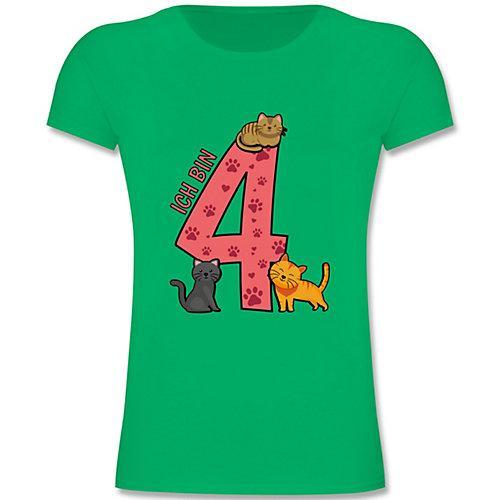 Kindergeburtstag Geburtstag Geschenk 4. Geburtstag Katzen T-Shirts Kinder grün Kinder