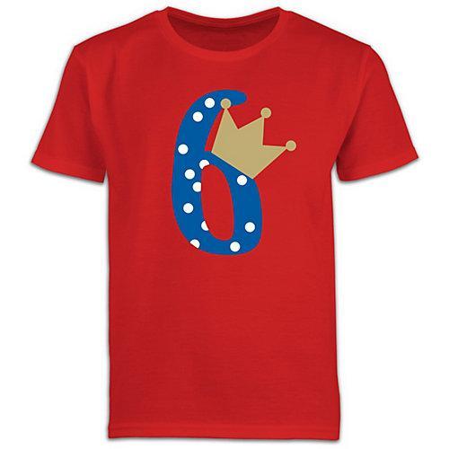 Kindergeburtstag Geburtstag Geschenk 6. Geburtstag Krone Junge T-Shirts Kinder rot Kinder