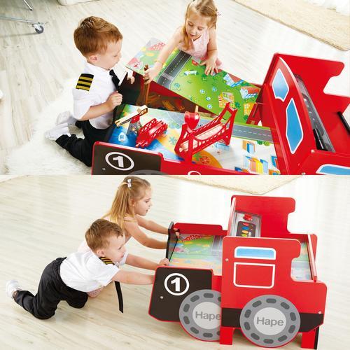Hape Spieltisch Aufklappbarer Eisenbahntisch, mit lustigen Licht- und Soundeffekten bunt Kinder Ab 3-5 Jahren Altersempfehlung