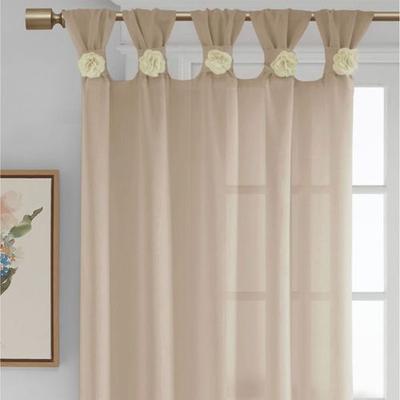 Rosette Semi Sheer Tab Top Curtain Panel, 50 x 84, Light Taupe