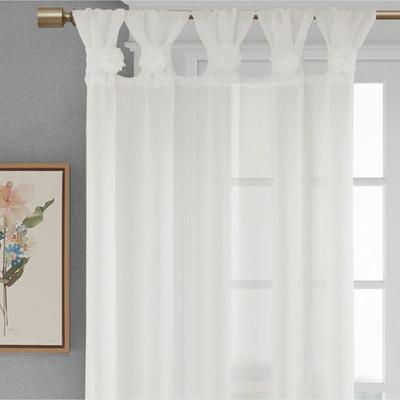 Rosette Semi Sheer Tab Top Curtain Panel, 50 x 95, White