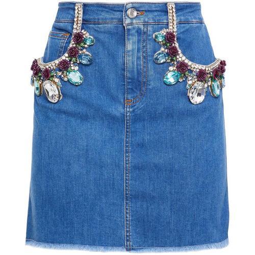 Dolce & Gabbana Minirock aus denim mit floralen applikationen und kristallverzierung