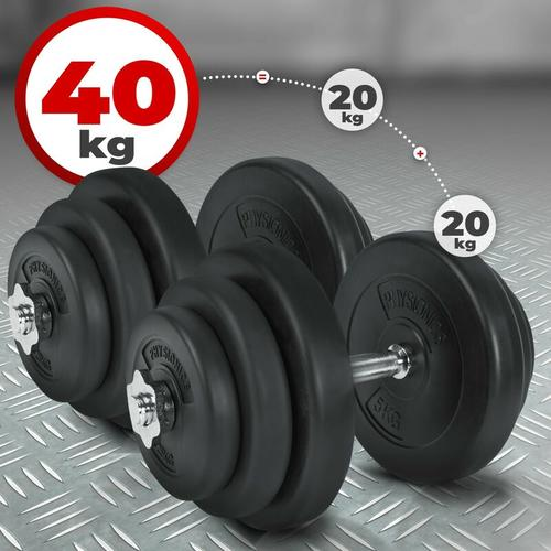 Kurzhantel Set 40 kg (2 x 20 kg) Hanteln Hantelscheiben Hantelset Kurzhanteln