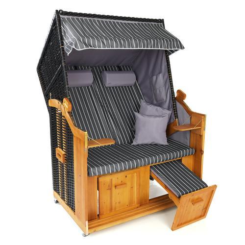 Hoberg 2-Sitzer-Strandkorb (Ostsee) inkl. Rollen + mit extra Bezug